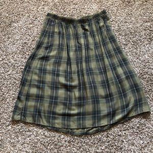Retro Girl Plaid Calf Length Skirt New Sz XL